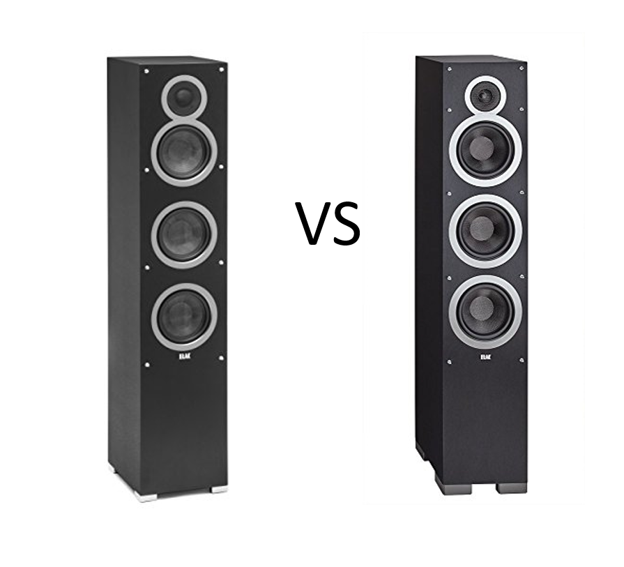 ELAC Debut F5 and F6 Floorstanding Speakers Side by Side